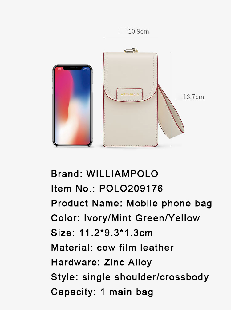 WILLIAMPOLO 2020 Mobile Phone Small Purses Female Vertical Leather Mini Bag Hand Wrist Bags Multi-Function Women Purses and Bags