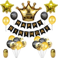 Black Gold 18 30 40 50 60 70 80 Years Birthday Banner Balloons inflatable Balloon for Adult Birthday Party Decorations Set