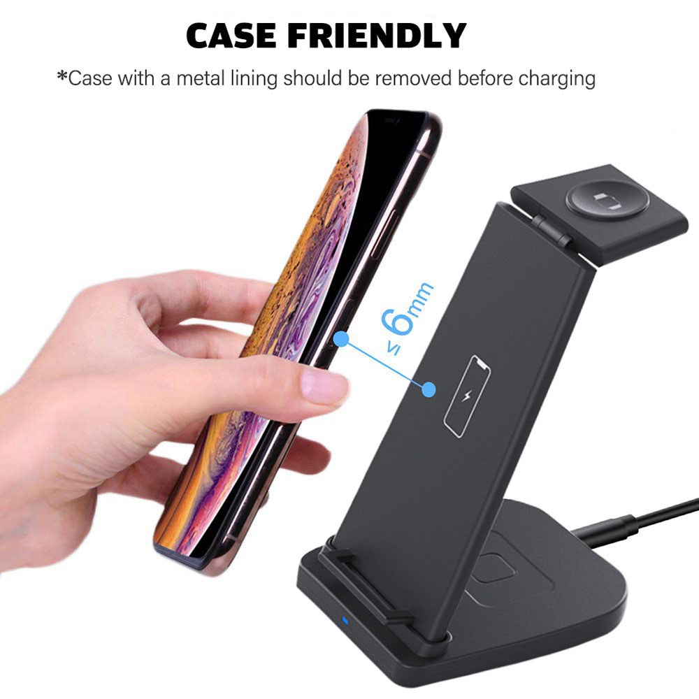 3 in 1 foldable wireless charger Stand phone holder with wireless charger for Airpods and Watch Series
