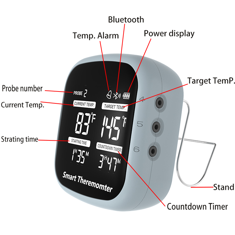 Bluetooth Intelligent Bbq Grill Tools Set Meat Thermometer APP