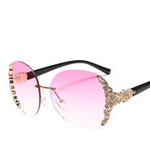 Hot fashion women large shades frameless <strong>sunglasses</strong> from china