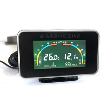 Car 2 in 1 LCD Digital Display Voltmeter Gauge/ Water Temp Temperature Universal