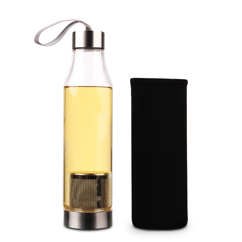 550ml Portable Double Open Glass Water Bottle With Tea Infuser Filter Single Wall High Borosilicate Drink Bottle