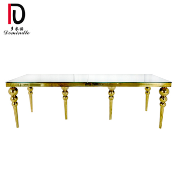 gold stainless steel frame mirror glass top dining table for wedding