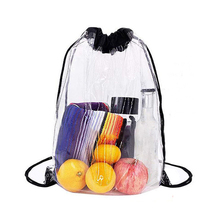 Wholesale Promotional Waterproof Transparent <strong>Backpack</strong> Clear PVC Drawstring Bag