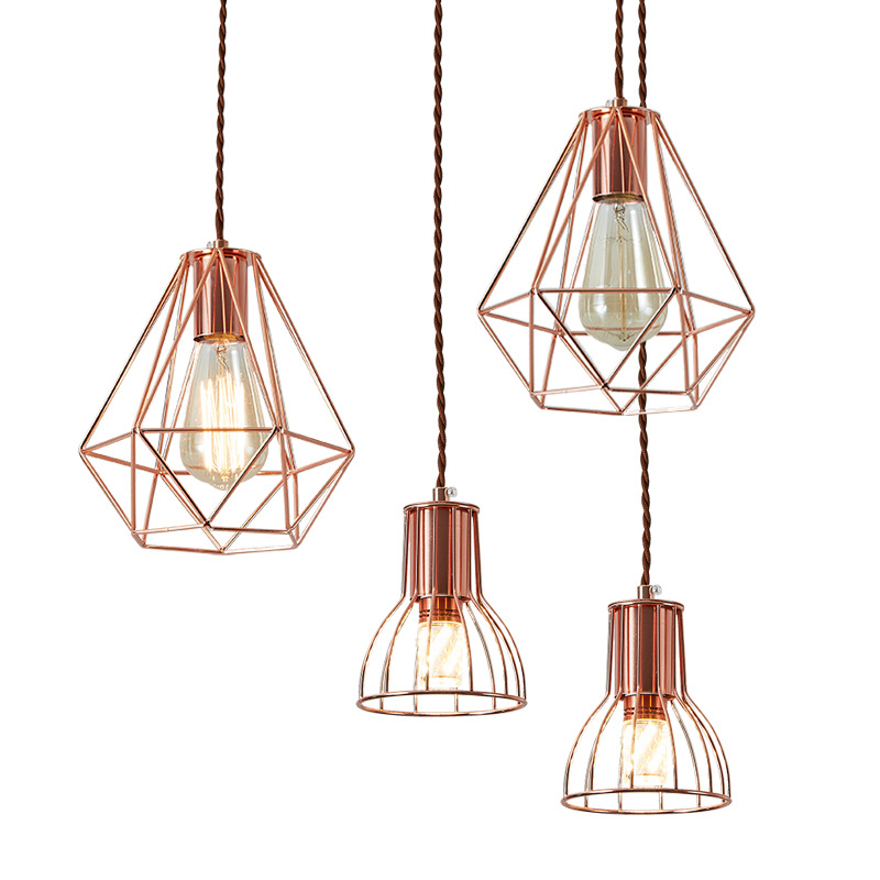 Modern <strong>LED</strong> Nordic Wholesale Post-Modern Simple Iron Cage Kitchen Droplight Vintage Electroplated Rose Gold Chandelier