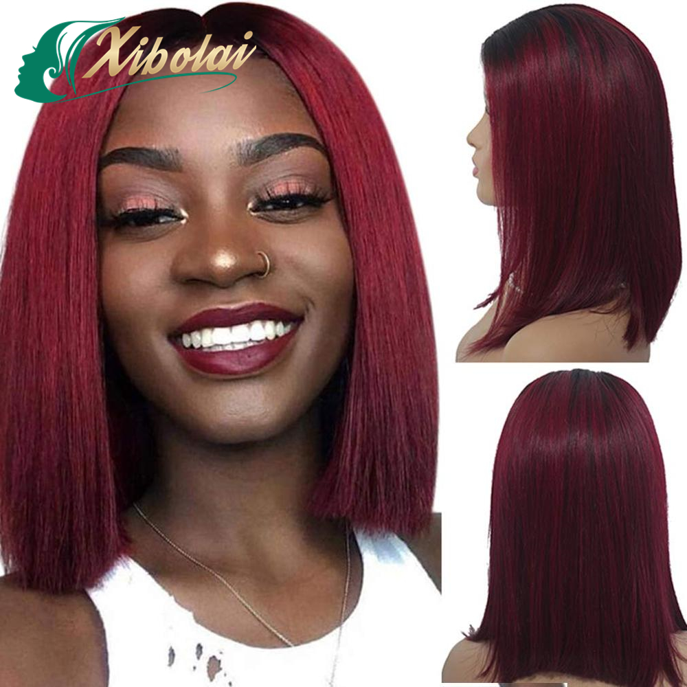 JcXBLShort Bob Wigs 99j Swiss Lace Front Wig 13x6 Cuticle Aligned Hair Ombre Color Red Human Hair Wig Short Cut For Black Women
