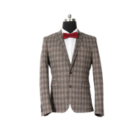 Knitting stretch slim check suits luxury business blazer men suit with half lining