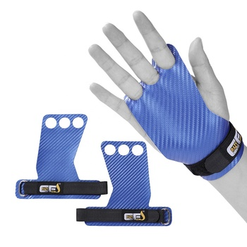 Carbon gymnastic hand grips palm protection weight lifting leather gloves for fitness bodybuilding