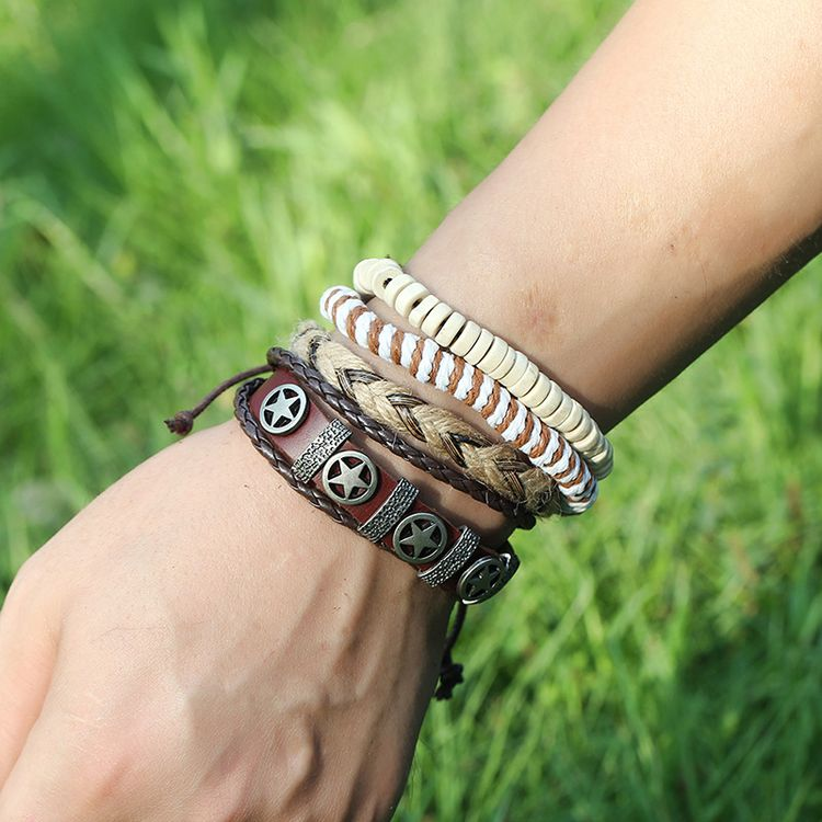 Fashion Alloy Star Retro Cowhide Bracelet Men's Woven DIY Set Hemp Rope Pentagram Leather Bracelet
