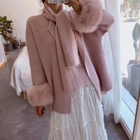 Sweet Street-Style apparel fox fur cuff knitted jacket women loose pink cardigan soft scarf collar chic autumn wool sweater
