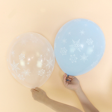 100pcs/bag <strong>12</strong> inch christmas snowflake latex balloons helium globos for winter party decoration happy new year ballons supplies