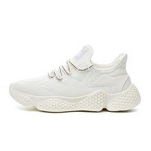 New fashion round toe lace-up mesh breathable sneakers comfortable fly knit <strong>flat</strong> casual shoes for women