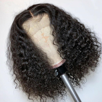 Afro Curly Wigs Lace Front Bob Curly Wigs Natural Hairline 180% Density Lace Frontal Remy Human Hair Wigs For Black Women
