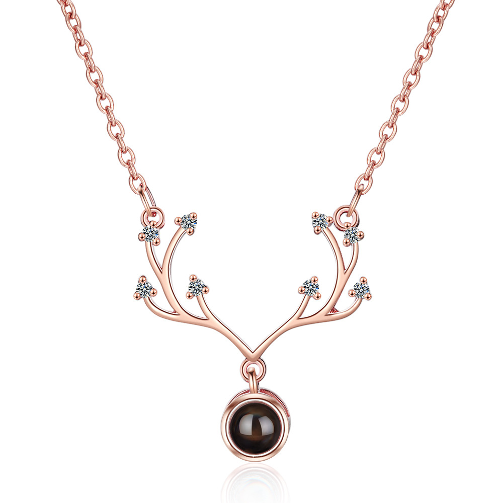 Rose Gold Short Clavicle Chain Antler Necklace 100 Language I Love You Projection Necklace For Couple Valentine's Day present