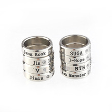 Bangtan Boys BTS <strong>Ring</strong> Stainless Steel KPOP Jung Kook Jin J-Hope Member Name Big Fan <strong>Ring</strong>