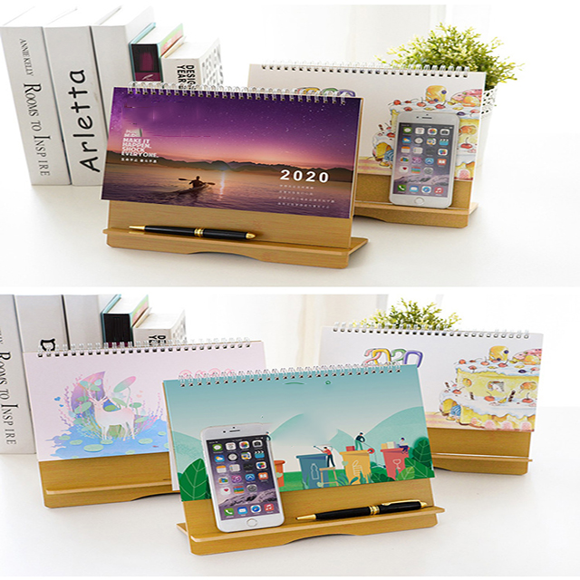 New year accept custom wooden  office desktop creative and simple desk calendar