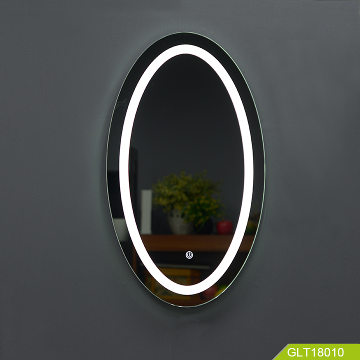 Oval Wall Mounted Led Lighted Mirror For Bathroom Lamp Wall Mounted Mirror With Touch Switch