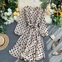 Fall Korean Style Women Polka Dot Midi Dress In Hot Sashes Vintage Elegant Long Sleeve Green Dress Ladies Dresses
