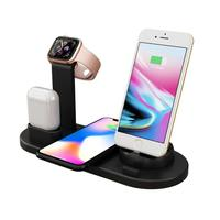 6 in 1 Multi Port USB Charge Station Wireless Charger Desk Holder for iPhone 11 iWatch Airpods Type-C Android Mobile Phone