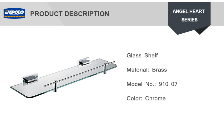 Wholesale decorative 1 tier glass wall shelf tempered glass shelf