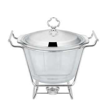Stainless Steel Round  4 Liter Glass Buffet Chafing Dish Food Warmer