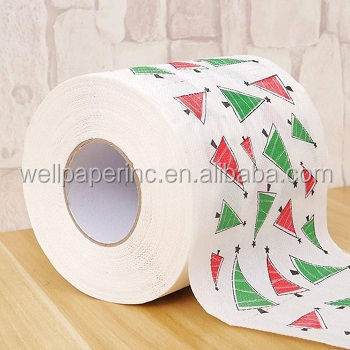 2 color full printing virgin wood pulp 3 ply soft skin care toilet paper roll