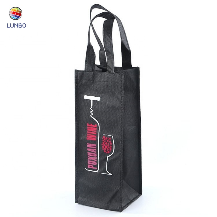 Custom <strong>logo</strong> printed 1 Bottle Non Woven Wine Bag