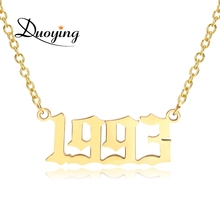 Dropshipping 1980-2020 New Stainless Steel Birth Year <strong>Necklaces</strong> old english Custom Number Personalized Pendant year <strong>Necklace</strong>