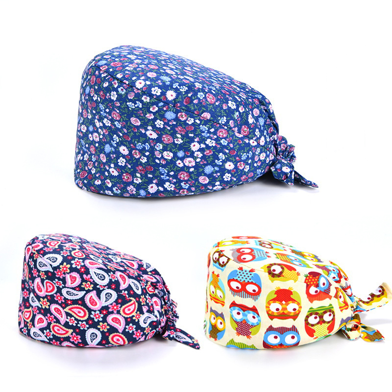Cotton Scrub Hat Hospital Medical Prints Unisex Surgical Hats