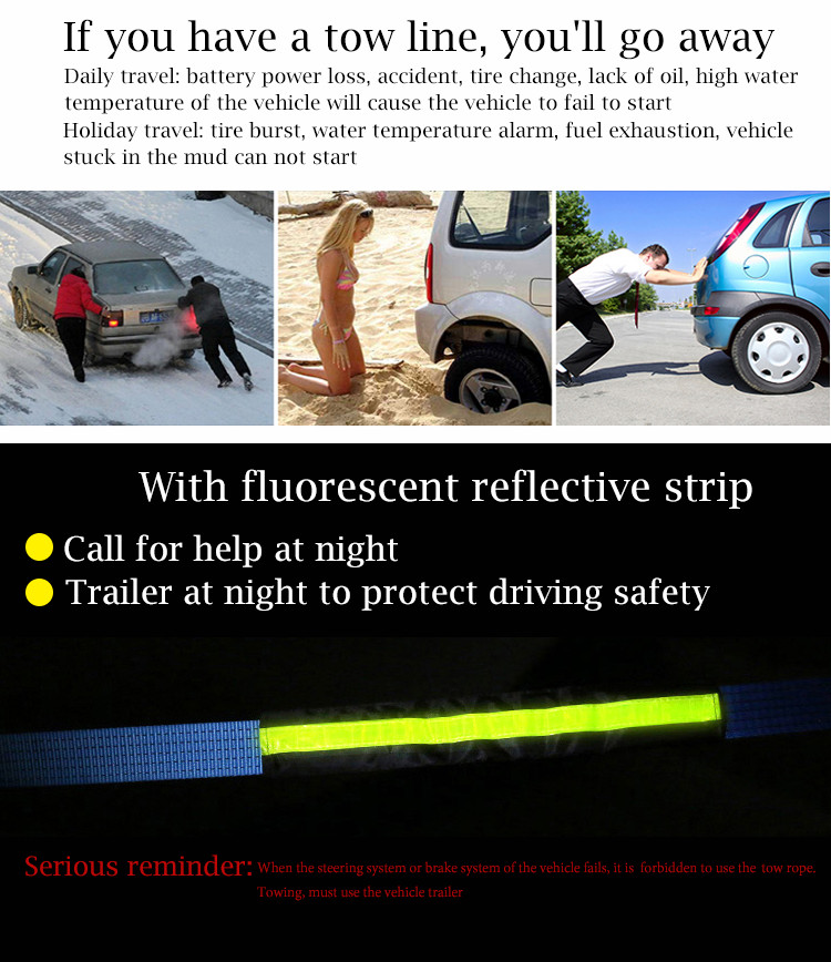 Universal Auto Emergency Tool Kit 8ton 3m Tow Rope Straps Trailer Towing Strap Trailer Rope Car Drawing Stretch Towing Rope