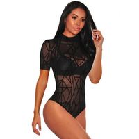 Sexy Sheer Mesh Body Slim Short Sleeve Slinky Bodysuits for Women