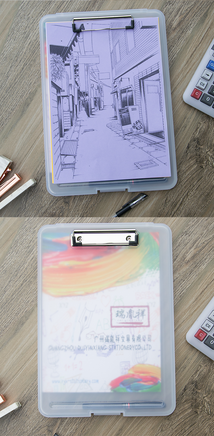 Document  Box Clear Plastic Document Paper Filling Case A4 writing board with a A4 storage box with clip  transparent  color