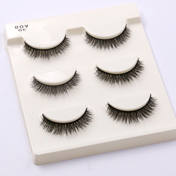 <strong>A08</strong> new product natural soft synthetic fiber 3d mink effect eyelash custom box lashes classic lash lashes wholesale vendor