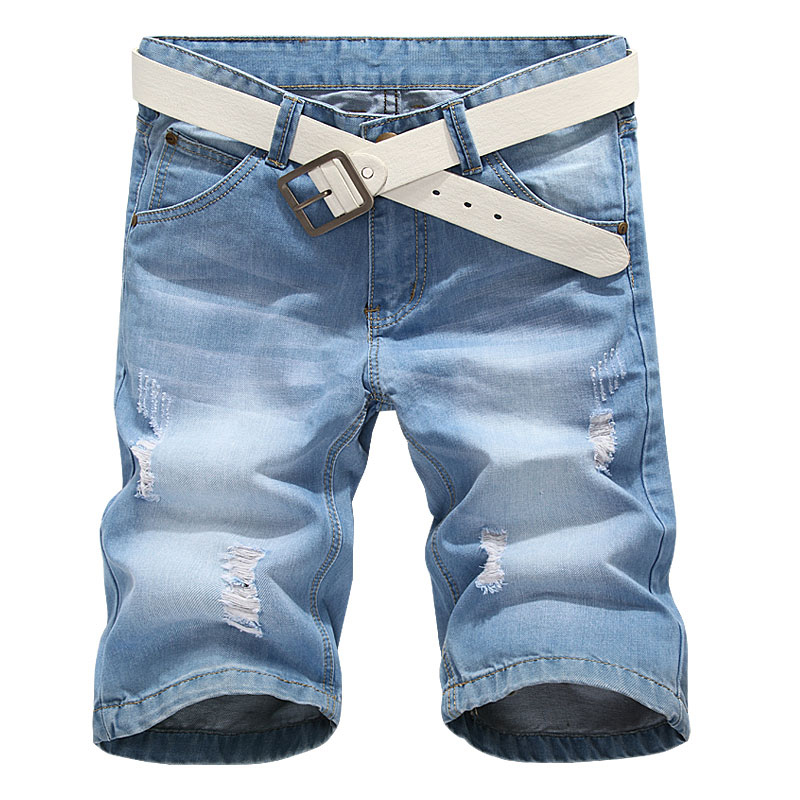 Summer Denim Shorts Mens Classic Light Blue Ripped Jeans Shorts Scratched Denim Shorts For Men