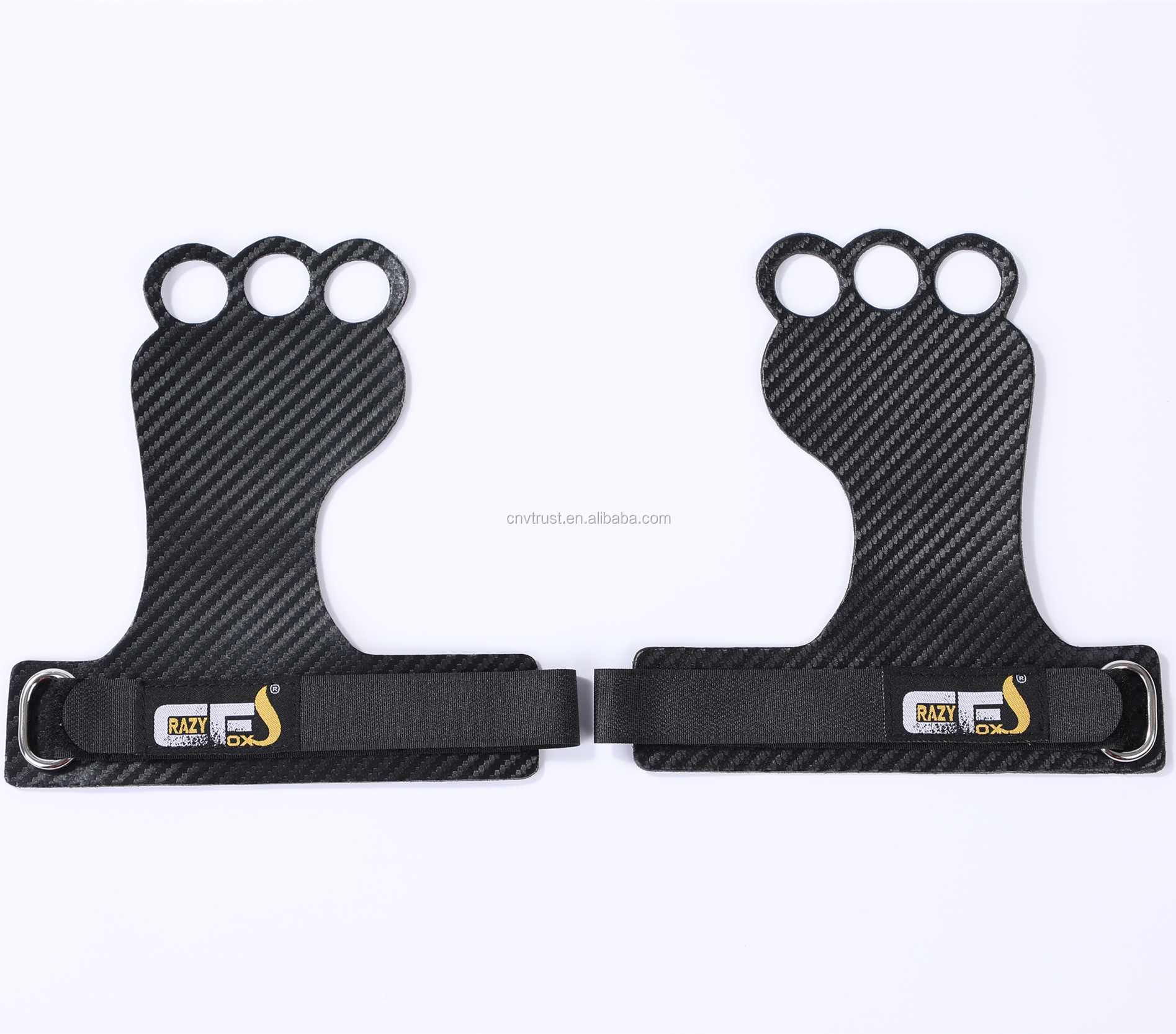 New designed Frog Shape 3-Hole Carbon Fiber Grips for Pull ups, Weight Lifting, Chin Ups, Training, Exercise, Kettlebell
