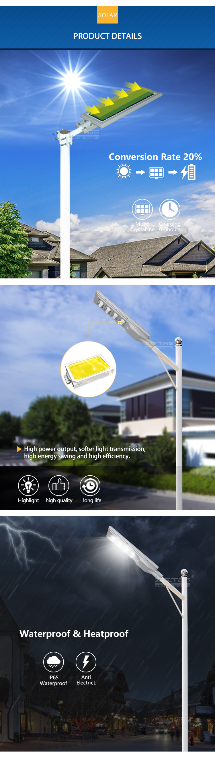 ALLTOP High lumen ABS bridgelux smd IP65 waterproof 30 60 90 120 W all in one solar led garden lamp