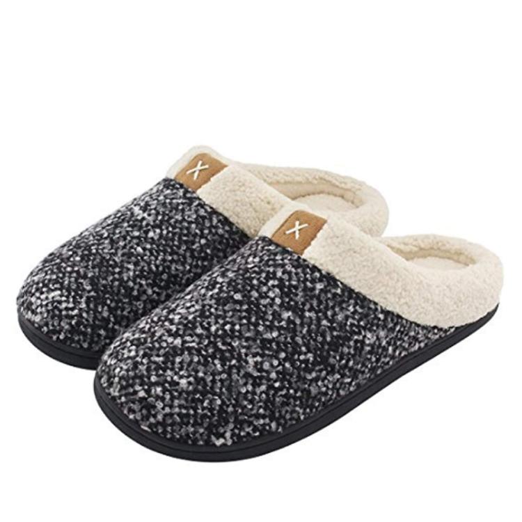Outdoor Anti-Skid Rubber Sole Womens Cozy Memory Foam Slippers Fuzzy Wool-Like Plush Fleece Lined House Shoes w//Indoor