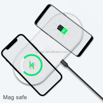 Wholesale Custom Logo MagSafes Charger for Apple iPhone Samsung 2 in 1 Fast Charging Pad Dock Suction Magnet Wireless Charger