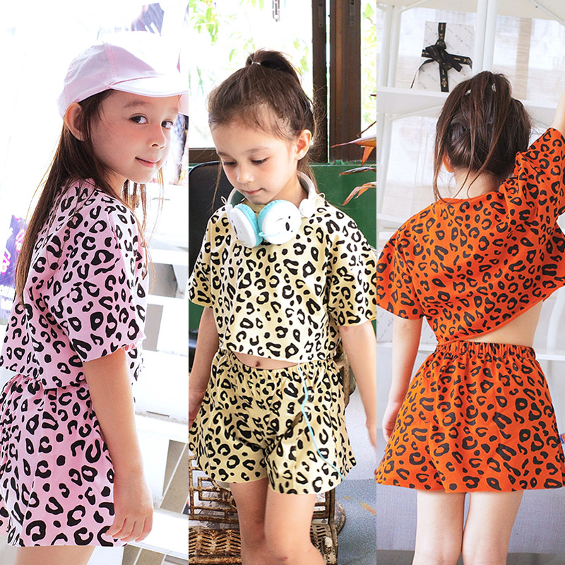 Girls Summer Suit 2020 New Children's Short-Sleeved Shorts Pants Casual Clothes Baby Western Leopard Two-Piece Suit