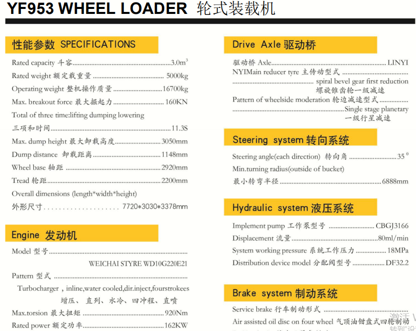 China supply loaders 6ton wheel loader price YF953 For Sale