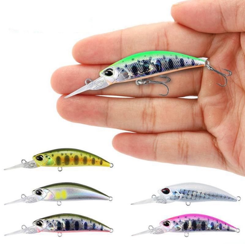 2020 Amazon 50mm 5g Fish Bait <strong>17</strong> Colors Plastic Hard Lure Wholesale Fishing Long Tongue Sinking Minnow