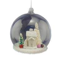 Wholesale 8cm 10cm clear hand blown christmas glass dome,glass ball house ornament