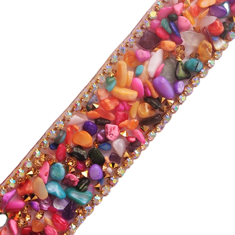YALI Fancy Decorative Rhinestone Trim Shiny Rhinestone Beaded Trim
