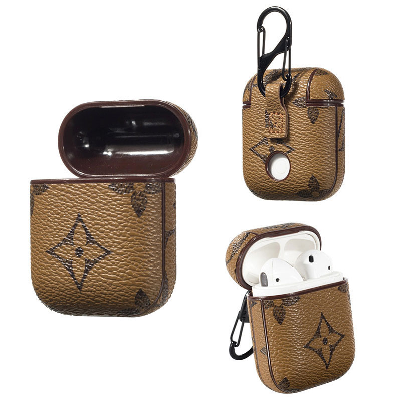 Luxury brand leather key chain earbuds case for airpods case