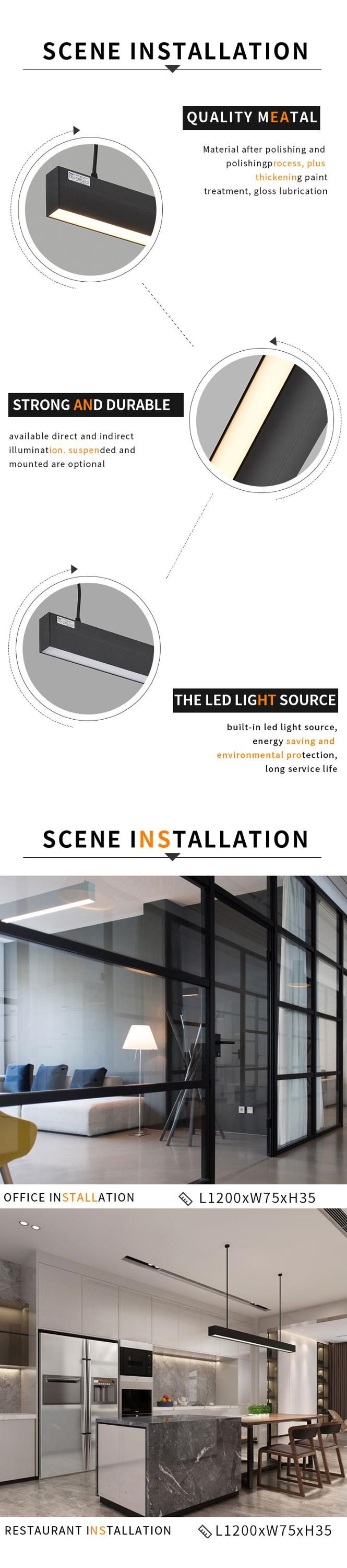 Modern Minimalistic Aluminum LED Linear Pendant Light Lighting For Homehotel