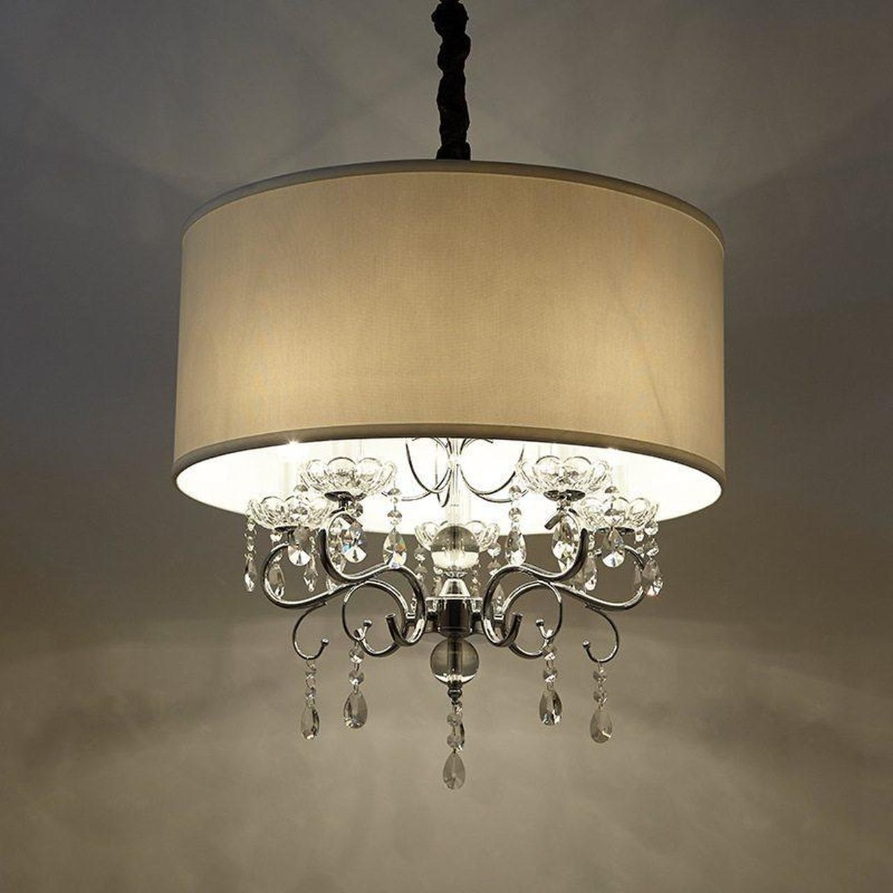5 Light k9 Crystal White Drum Shade Hanging Chandelier Pendant Light
