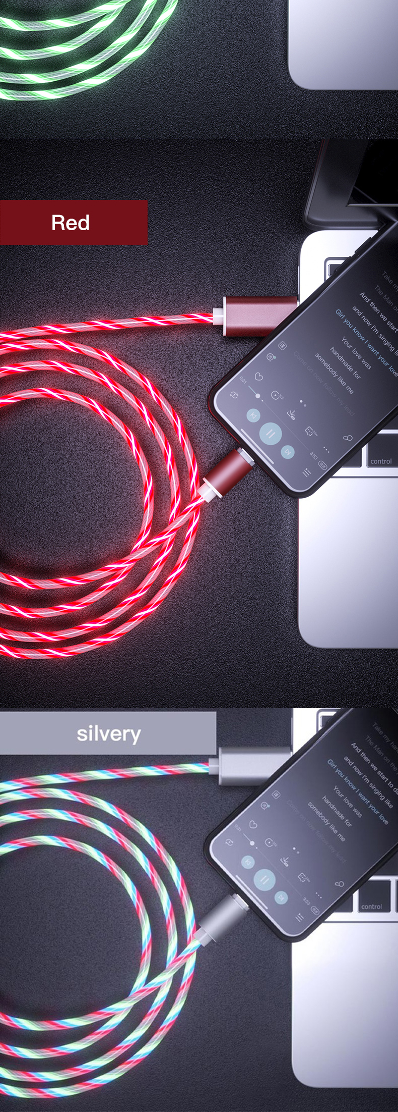 Amazon LED Glow Flowing magnetic Charger usb cable Type C Micro USB C 8 Pin Charging Cable for iphone Magnetic Charge Wire Cord
