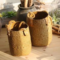 DIY Multipurpose Handmade Woven Seagrass Belly Basket Storage Plant Pot Baskets Flowers Plants Natural Woven Storage Basket