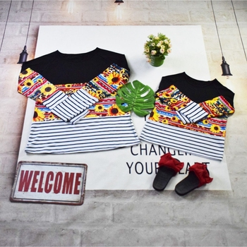 Wholesale family matching outfits Mommy & Me sunflower serape stripe long sleeve T-shirt